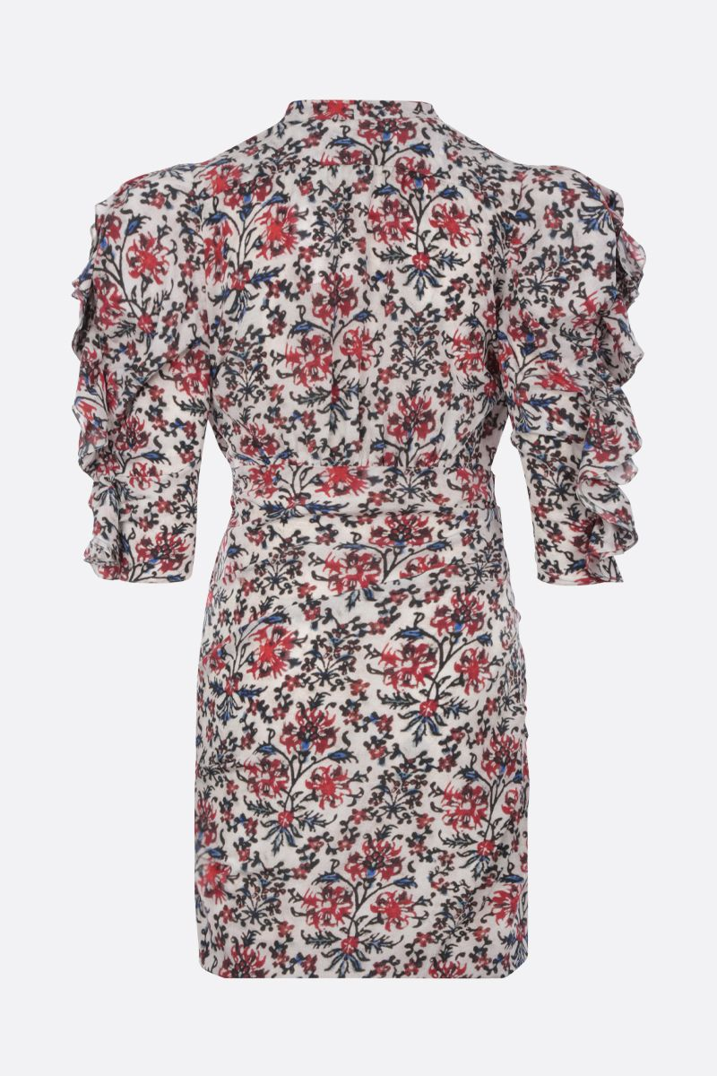 ISABEL MARANT: Farah minidress in printed stretch silk Color Red_2