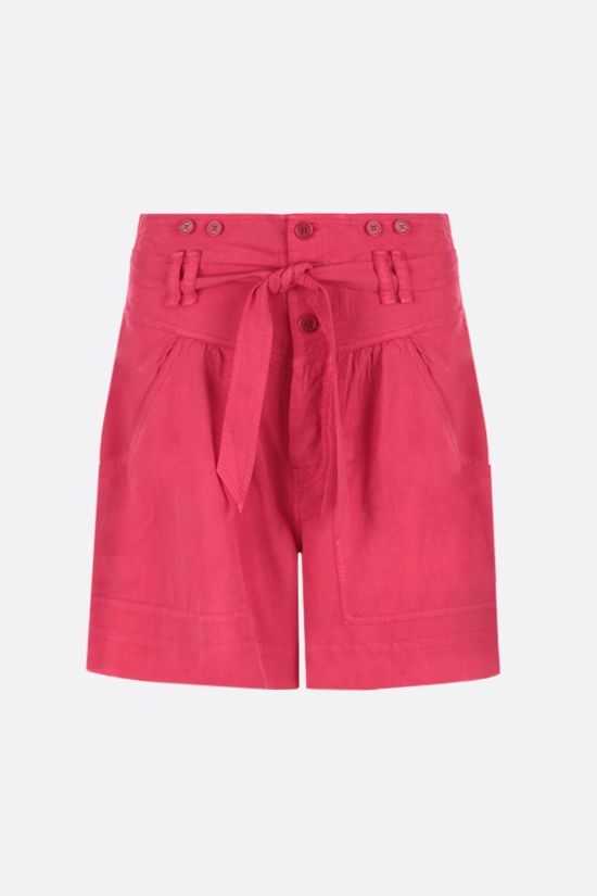 ISABEL MARANT: Flink twill shorts with removable suspenders Color Red_2