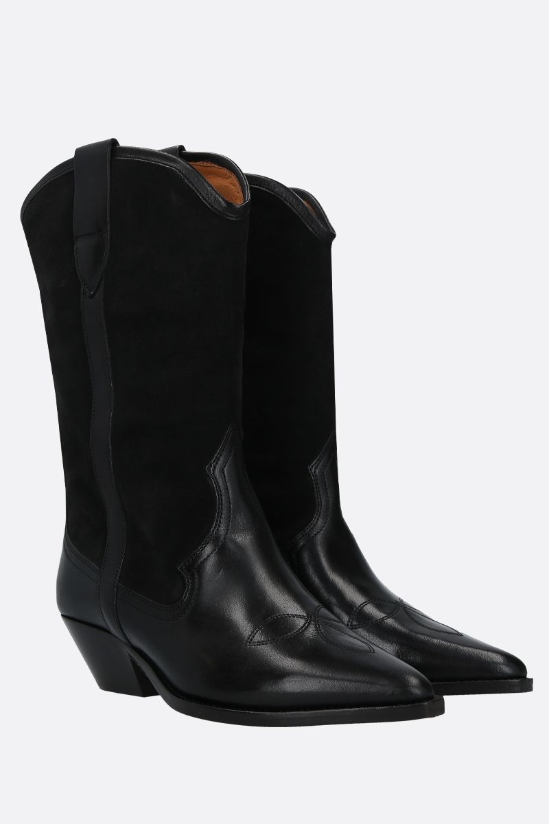 ISABEL MARANT: Dandrea suede and smooth leather western boots Color Black_2