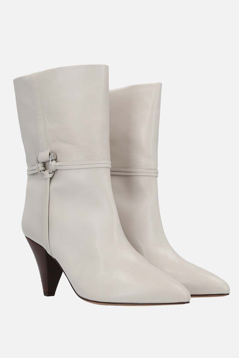 ISABEL MARANT: Lilet smooth leather booties Color White_2