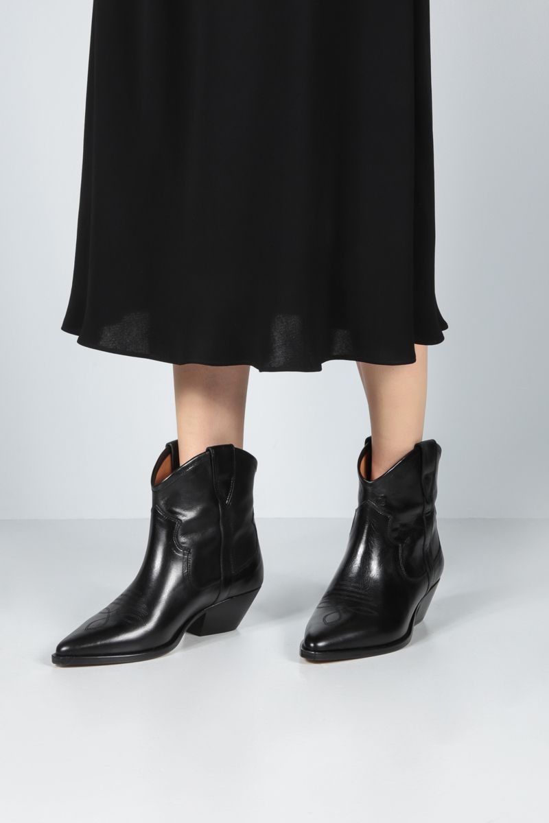 ISABEL MARANT: Demar smooth leather western boots Color Black_2