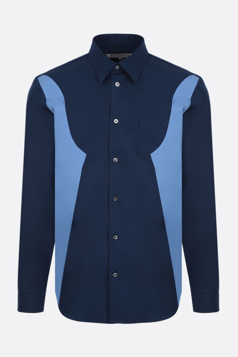 MAISON MARGIELA: bicolour cotton shirt Color Blue_1