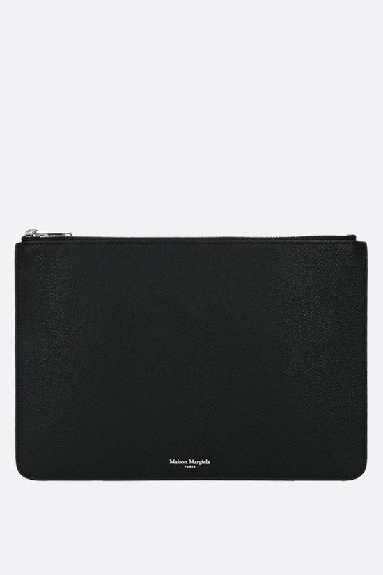MAISON MARGIELA: smooth and textured leather clutch Color Black_1