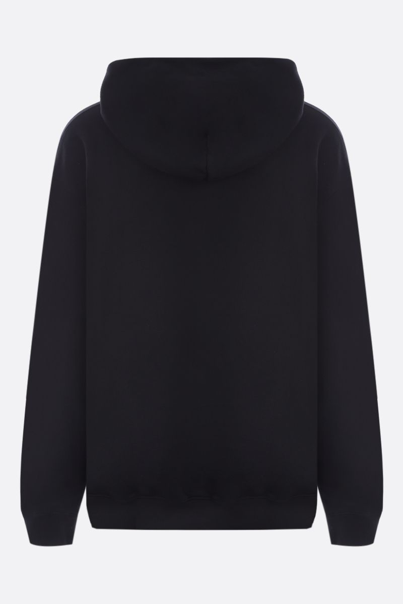 MAISON MARGIELA: logo embroidered cotton oversize hoodie Color Black_2