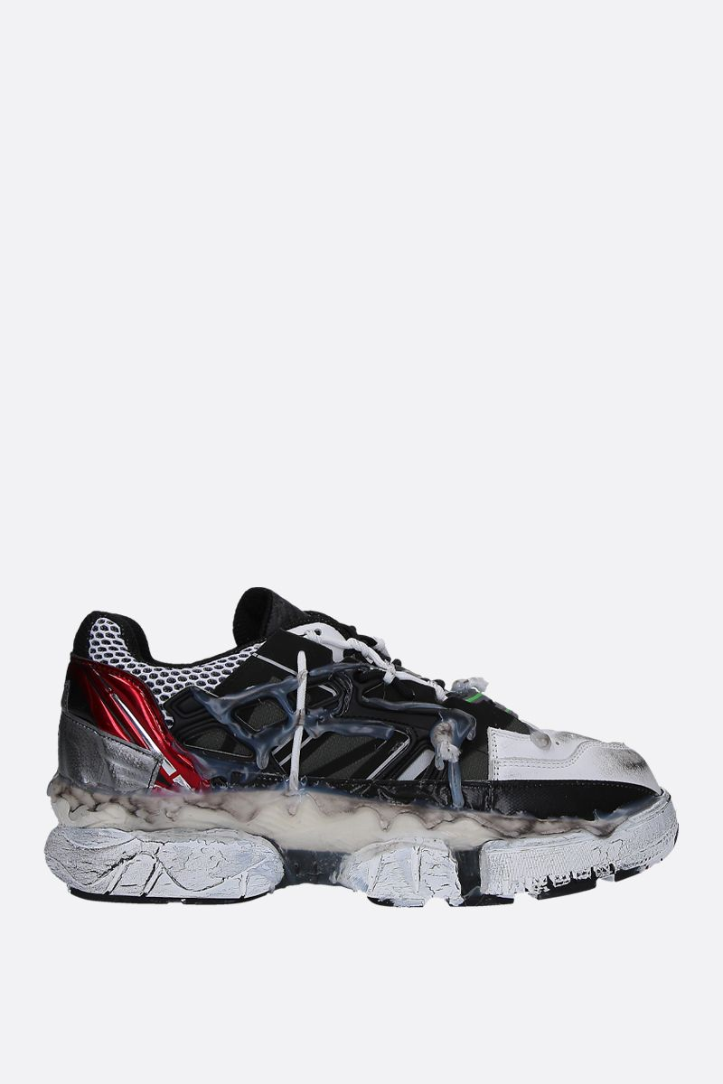 MAISON MARGIELA: Fusion sneakers in mesh and smooth leather Color Multicolor_1