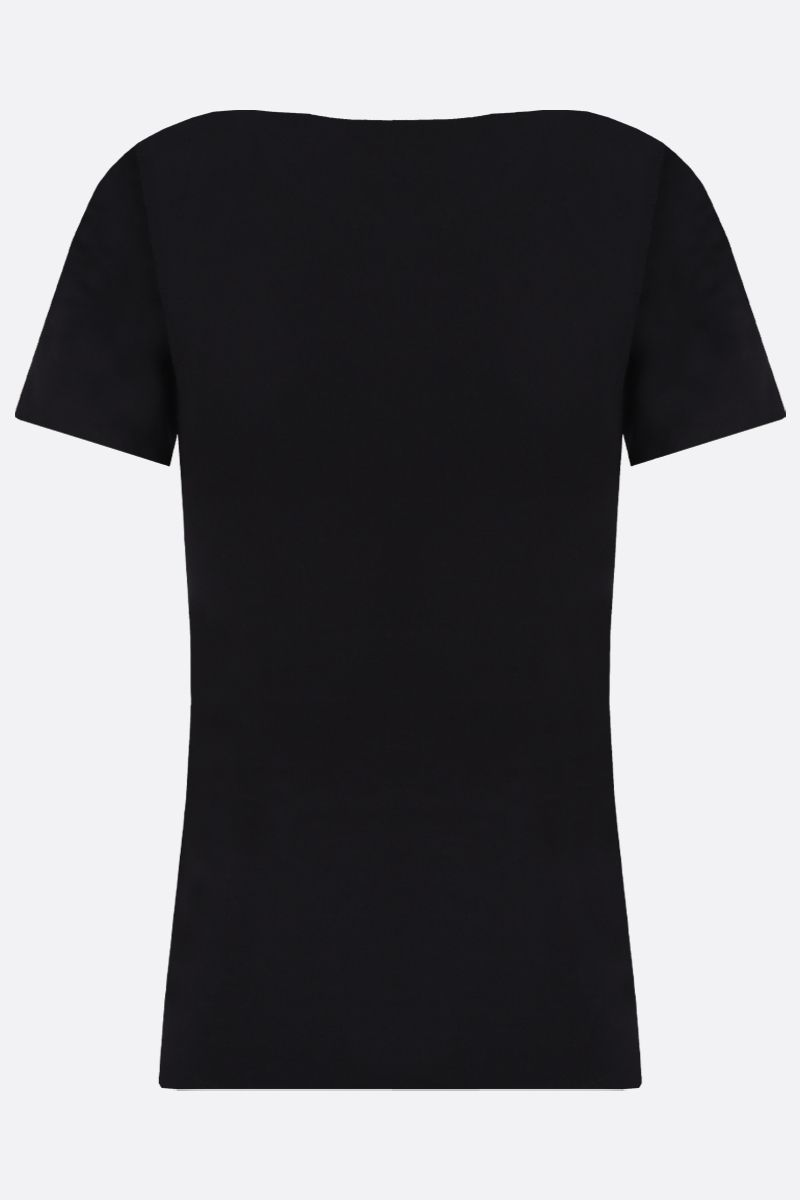 MARINE SERRE: Moon embroidered cotton t-shirt Color Black_2