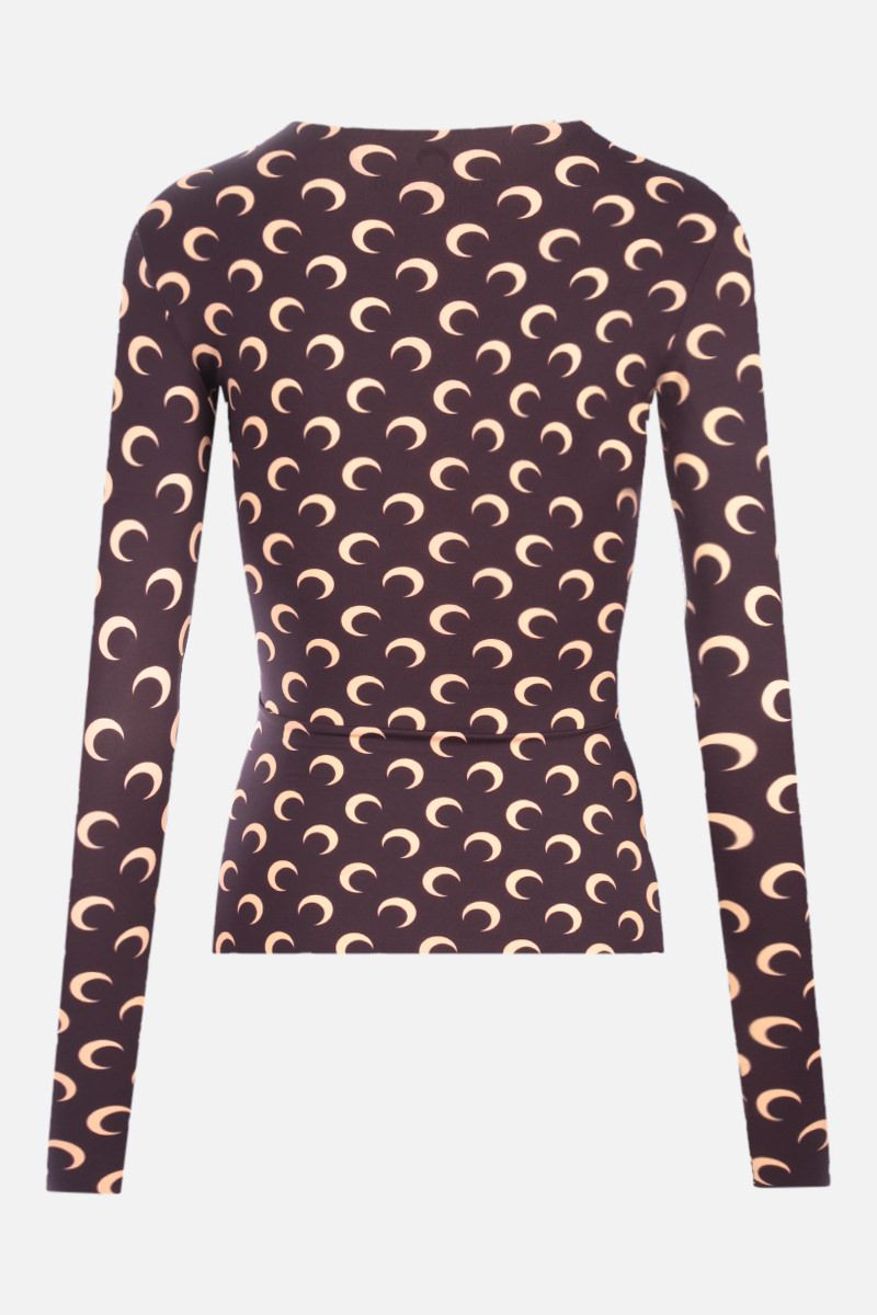 MARINE SERRE: Second Skin Moon recycled technical fabric top Color Brown_2