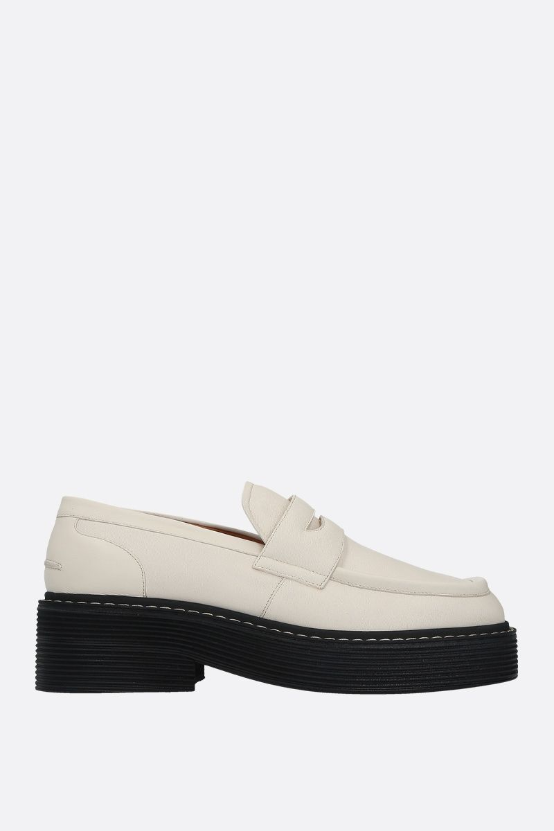 MARNI: smooth leather flatform loafers Color White_1