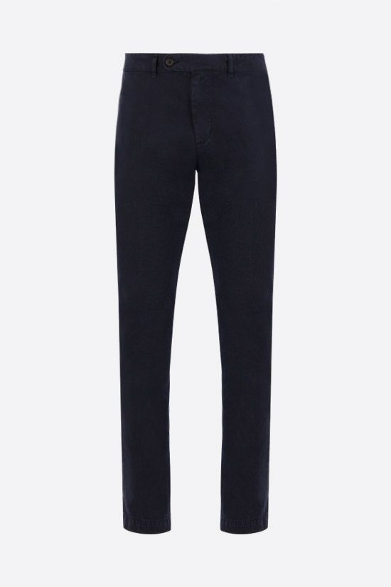 MASSIMO ALBA: Winch cotton linen blend pants Color Blue_1