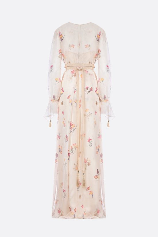 MAX MARA: Gettone floral silk long dress Color White_2