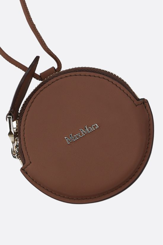 MAX MARA: Destino smooth leather coin purse with strap Color Brown_2