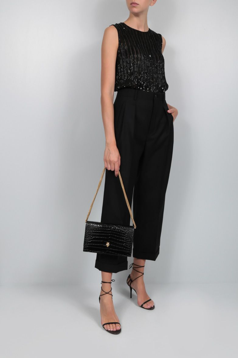 MAX MARA: Asia sequinned georgette sleeveless top Color Black_3