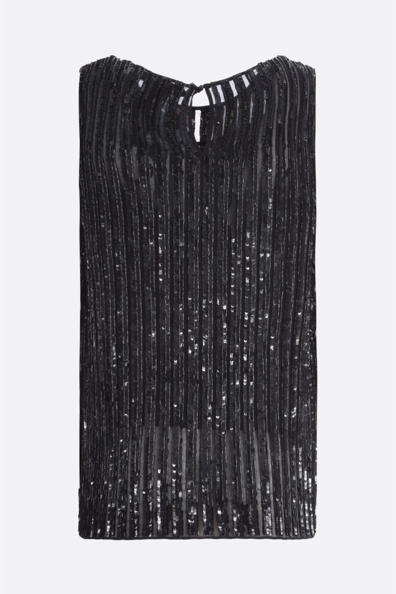 MAX MARA: Asia sequinned georgette sleeveless top Color Black_2