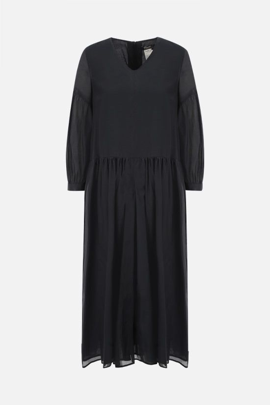 'S MAX MARA: Adorno silk and cotton voile long dress Color Blue_1