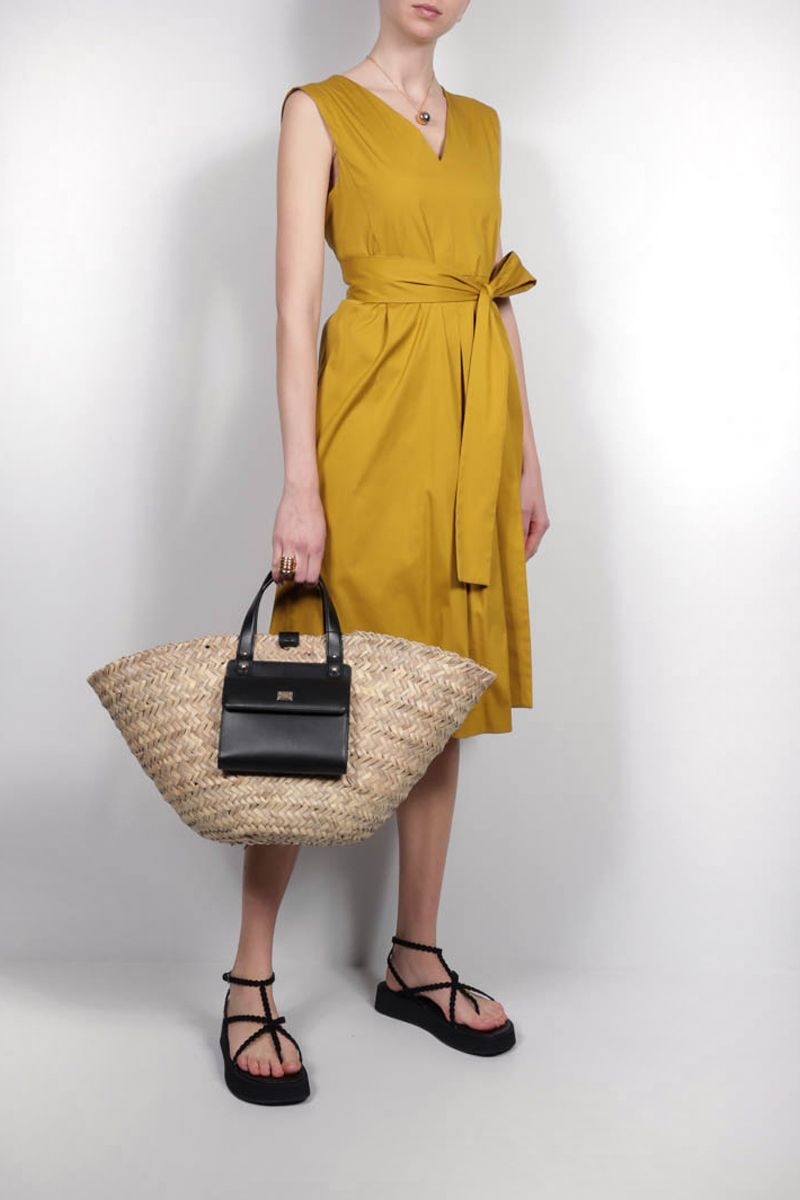 'S MAX MARA: Estremo cotton midi dress Color Yellow_2