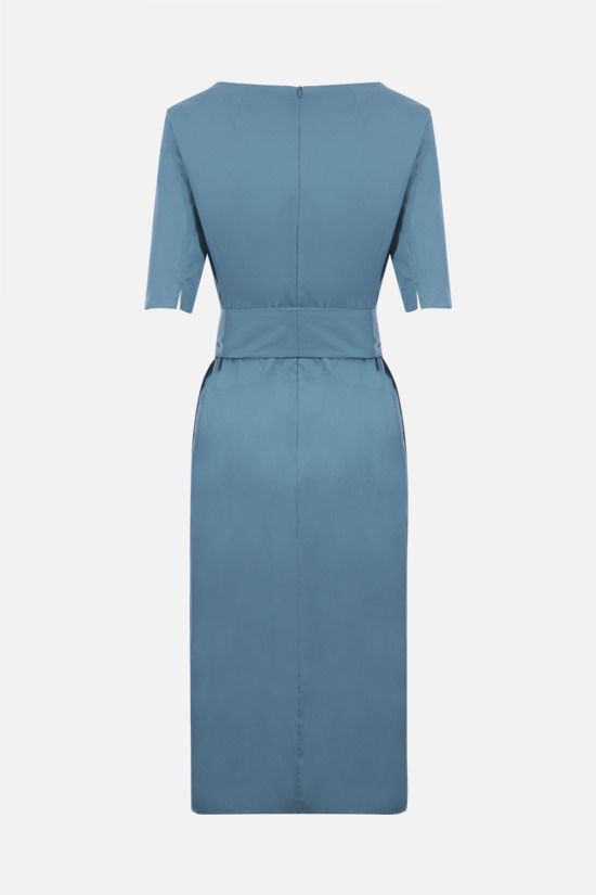 'S MAX MARA: Liriche stretch cotton midi dress Color Blue_2