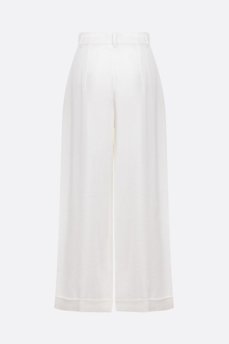 'S MAX MARA: Grace linen cotton blend wide-leg pants Color White_2