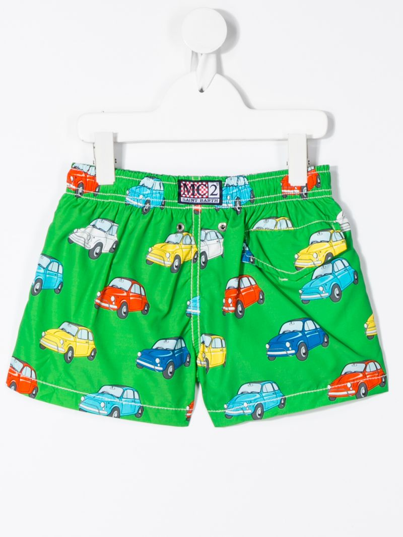 MC2 Saint Barth: cars print nylon swim shorts Color Green_2