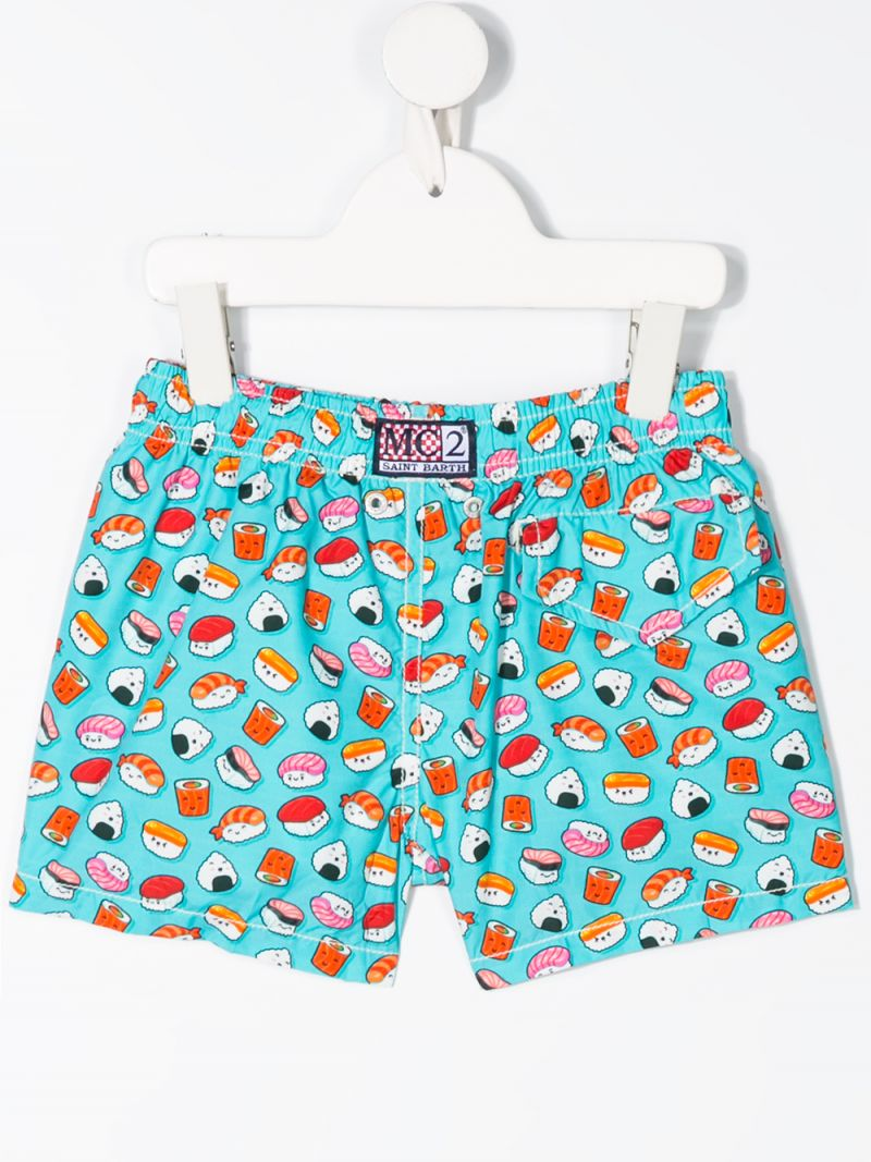 MC2 Saint Barth: sushi print nylon swim shorts Color Blue_2