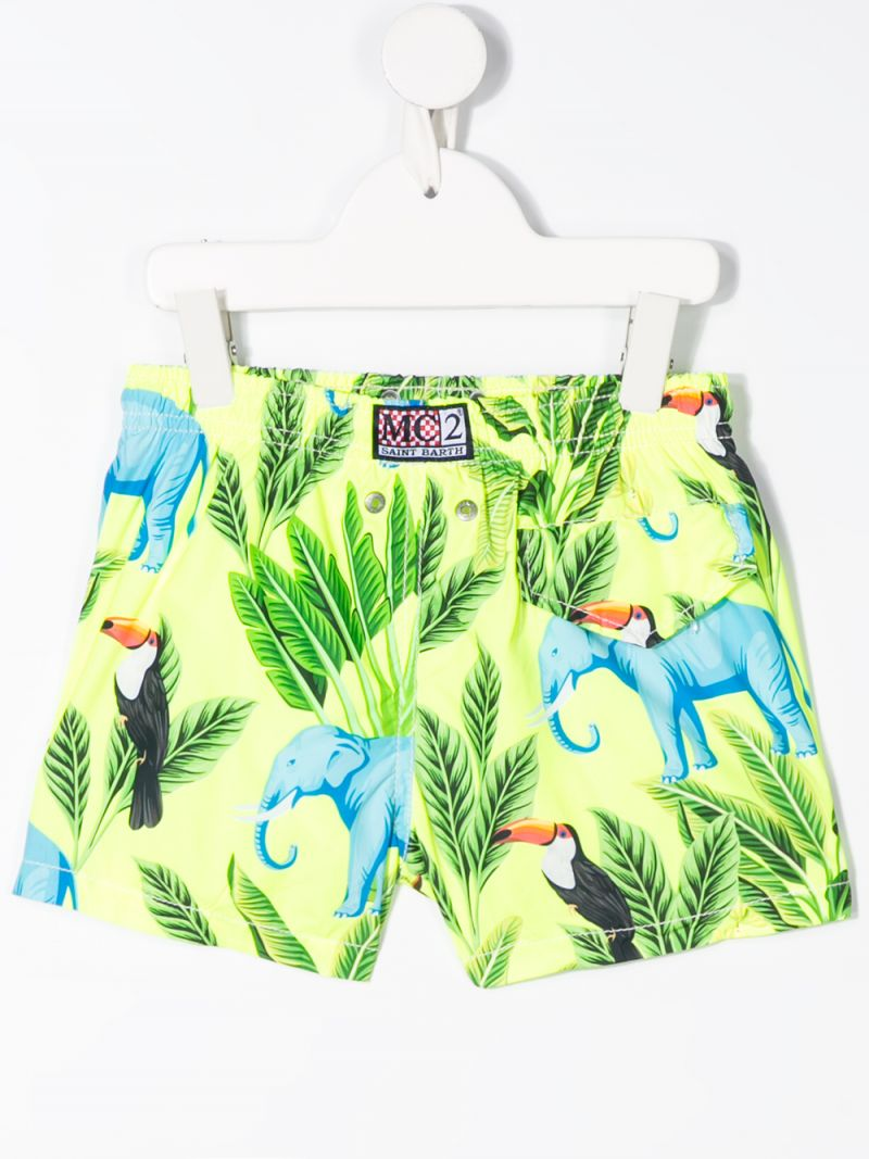 MC2 Saint Barth: elephant print nylon swim shorts Color Yellow_2