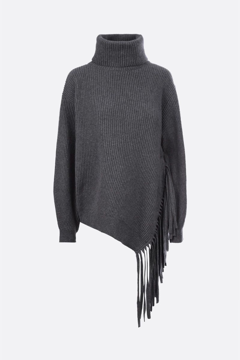 STELLA McCARTNEY: fringe-detailed cashmere wool blend turtleneck Color Grey_1