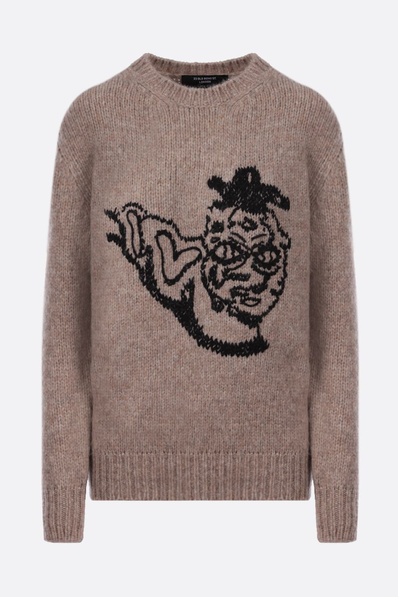 STELLA McCARTNEY: graphic embroidery alpaca blend pullover Color Neutral_1