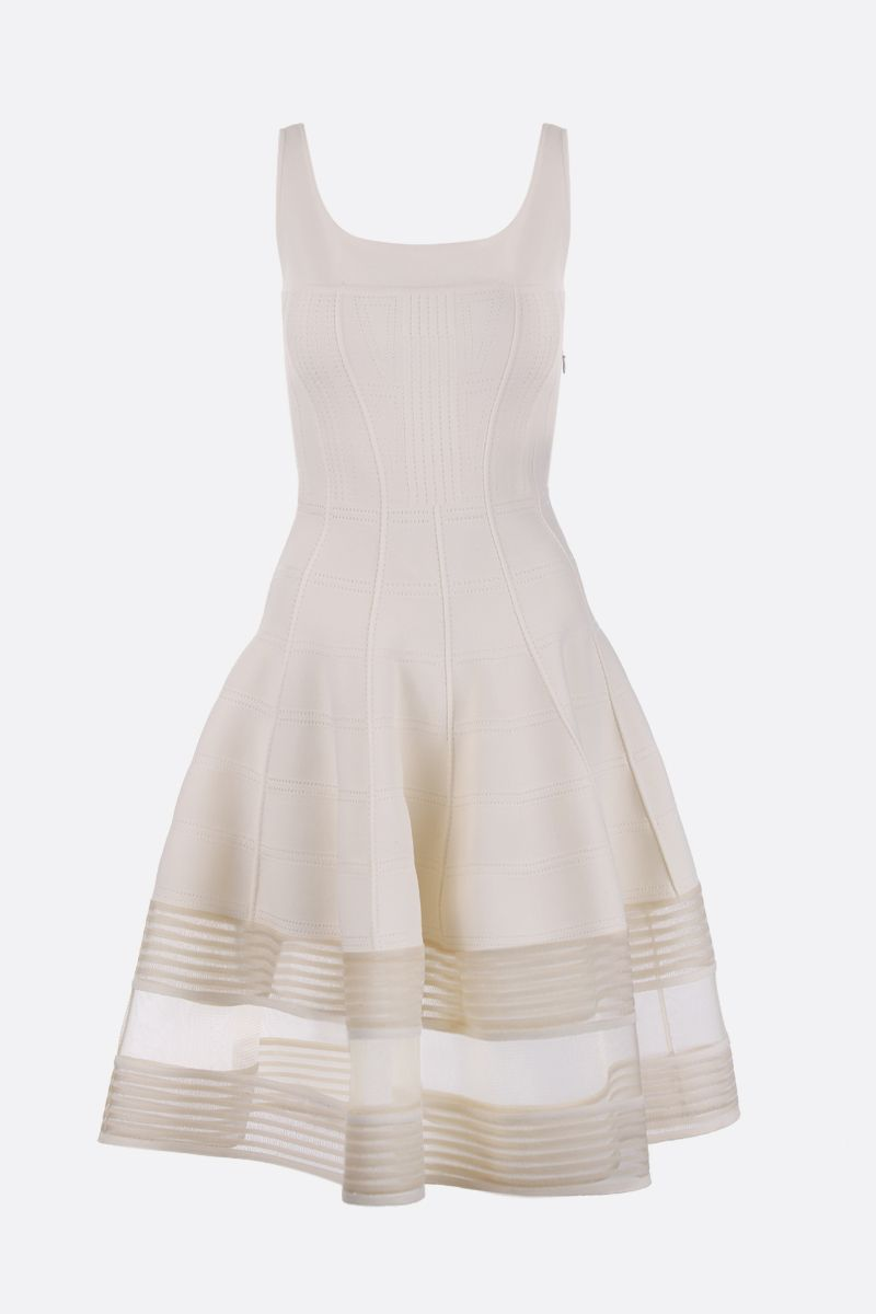 ALEXANDER McQUEEN: stretch knit midi dress with corset detail_1