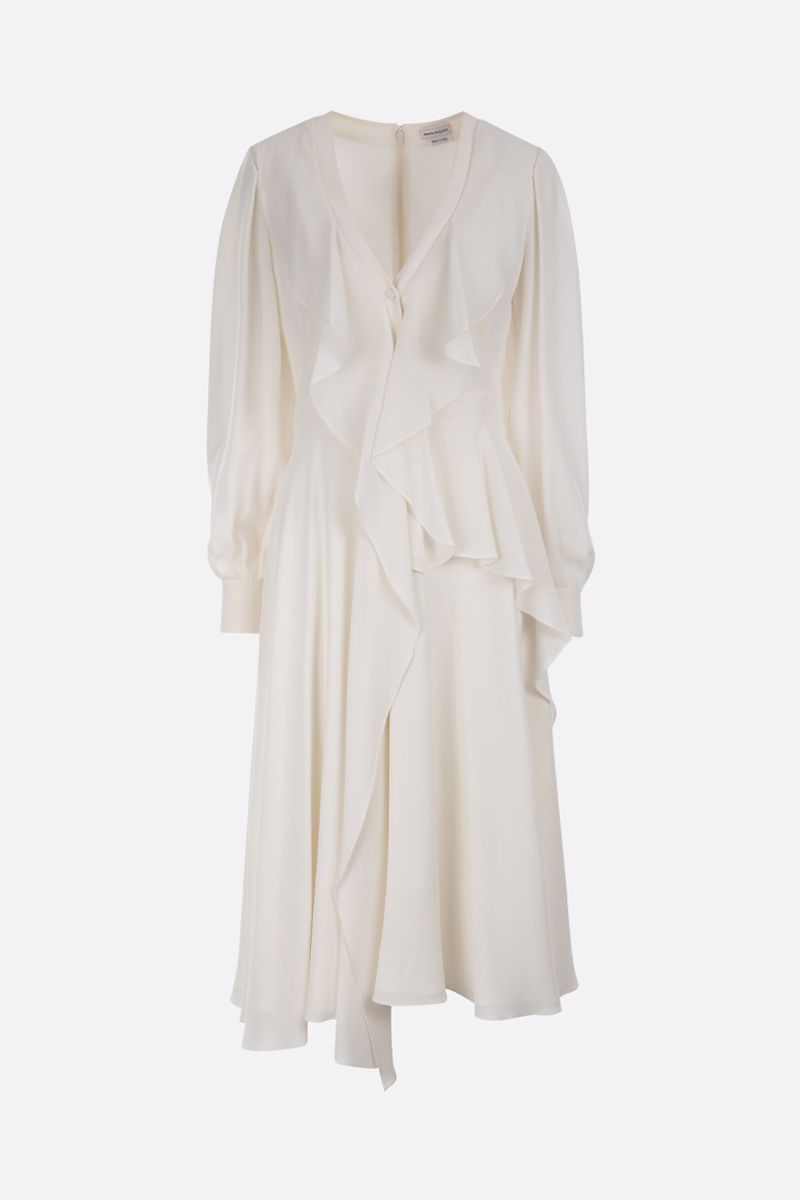 ALEXANDER McQUEEN: crepe de chine frilled midi dress Color White_1