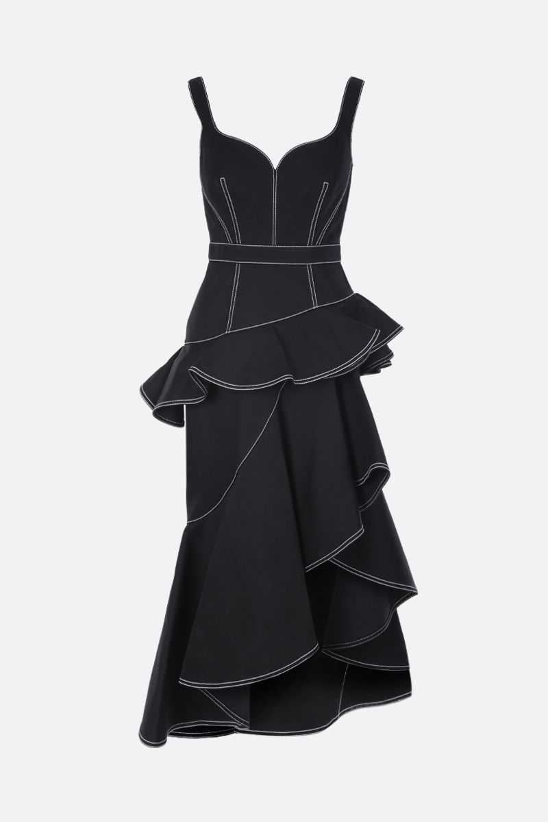ALEXANDER McQUEEN: peplum denim midi dress Color Black_1