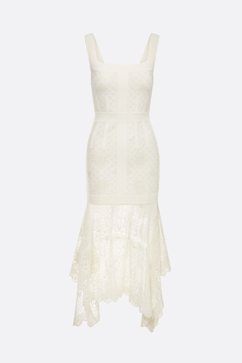 ALEXANDER McQUEEN: floral jacquard midi dress Color White_1