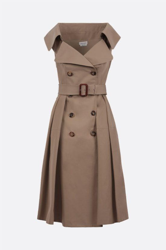 ALEXANDER McQUEEN: belt-detailed cotton trench dress Color Neutral_1