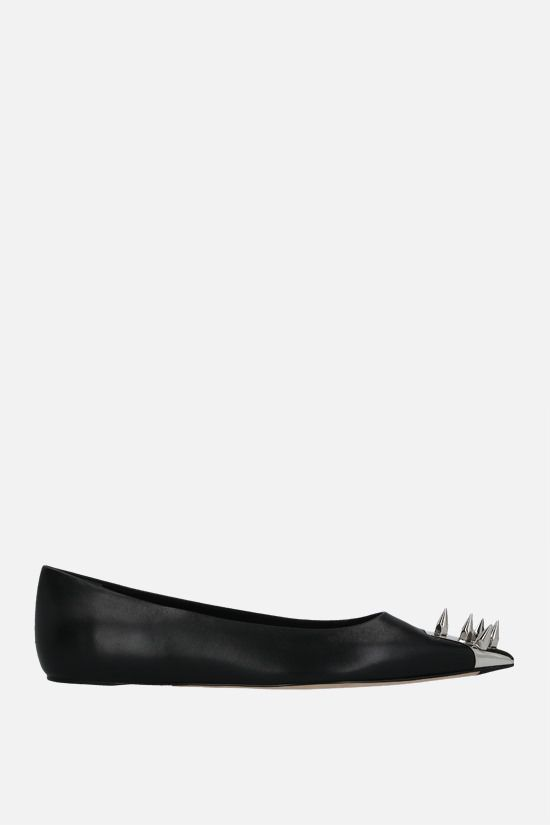 ALEXANDER McQUEEN: Punk shiny leather ballerinas Color Black_1