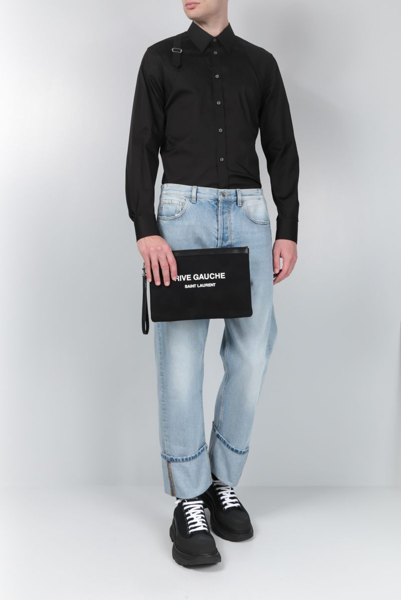 ALEXANDER McQUEEN: stretch poplin shirt with piquet inserts Color Black_2