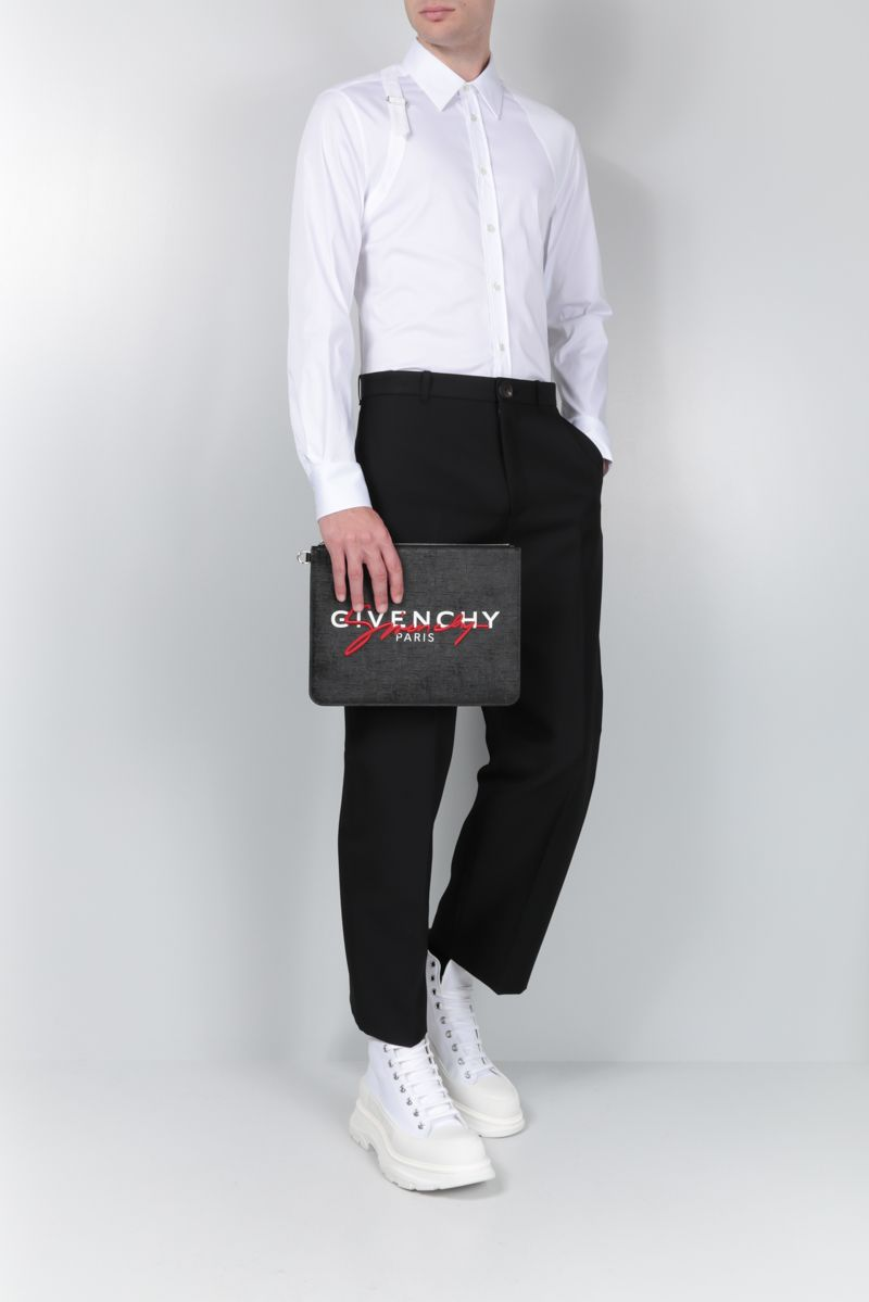 ALEXANDER McQUEEN: stretch poplin shirt with piquet inserts Color White_2