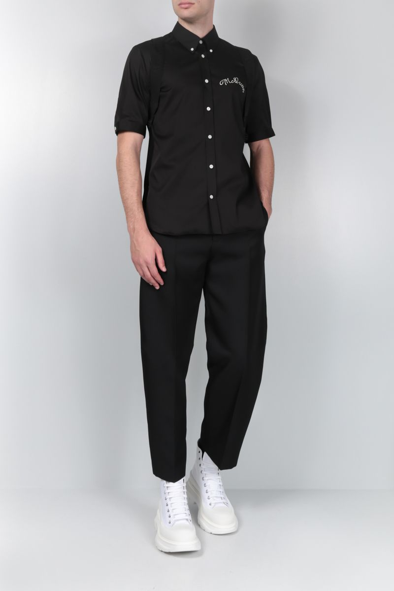 ALEXANDER McQUEEN: short-sleeved shirt in cotton blend Color Black_2