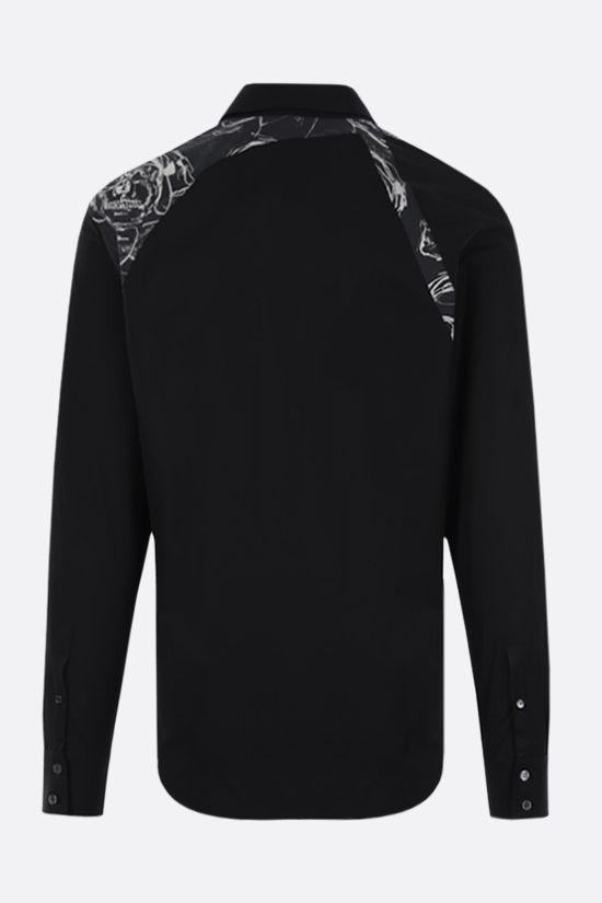 ALEXANDER McQUEEN: Skull print insert-detailed cotton shirt Color Black_2