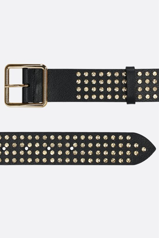 ALEXANDER McQUEEN: studded grainy leather belt Color Black_2