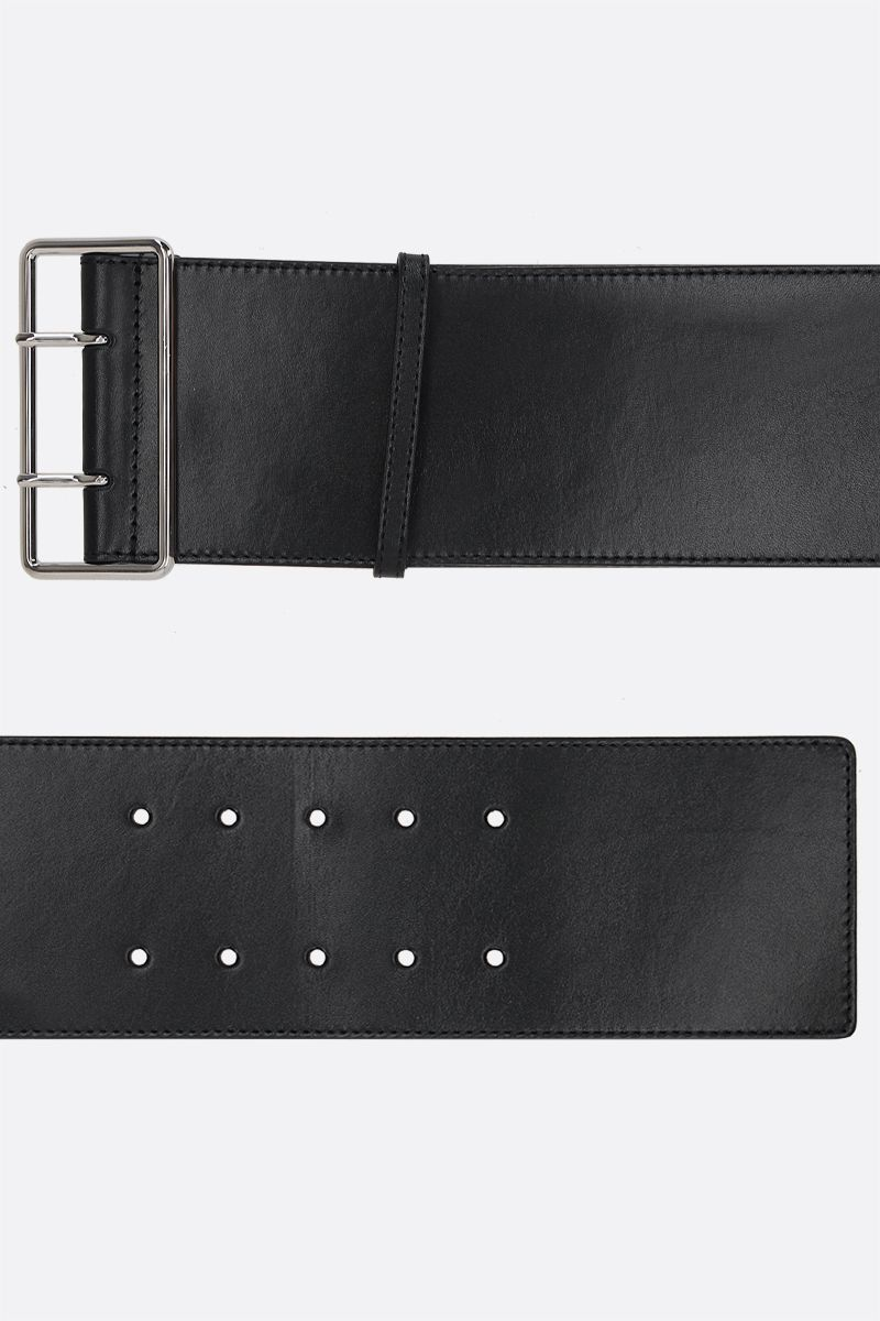 ALEXANDER McQUEEN: Military smooth leather waist belt Color Black_2