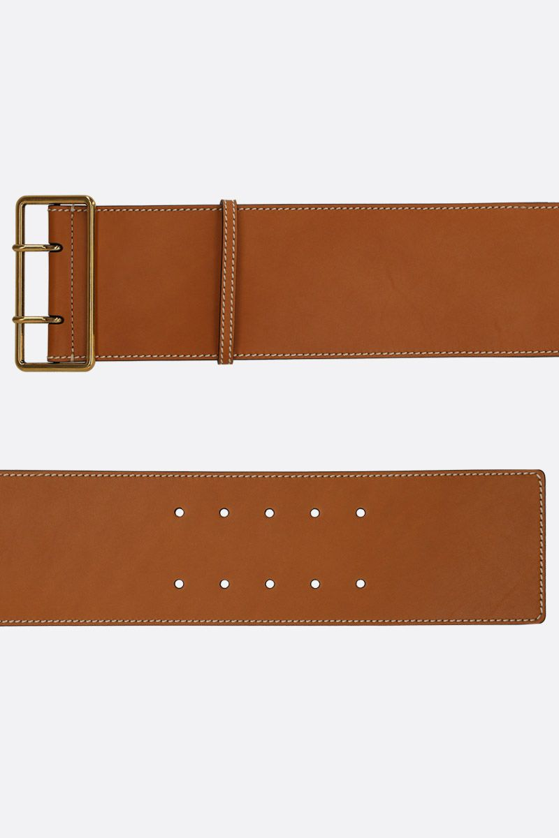 ALEXANDER McQUEEN: smooth leather waist belt Color Brown_2