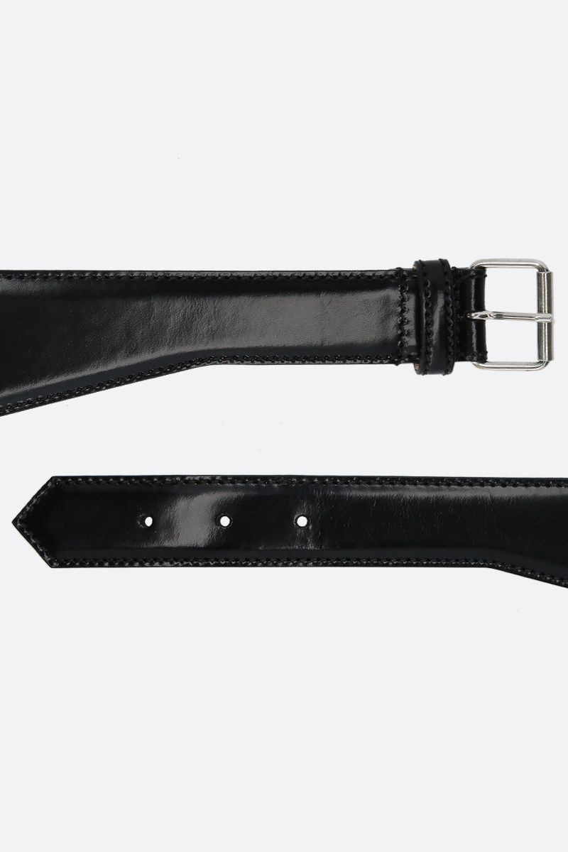 ALEXANDER McQUEEN: shiny leather waist belt Color Black_2