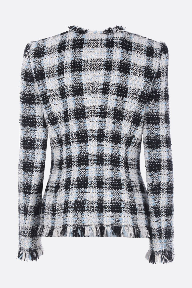 ALEXANDER McQUEEN: checked tweed single-breasted jacket Color Blue_2