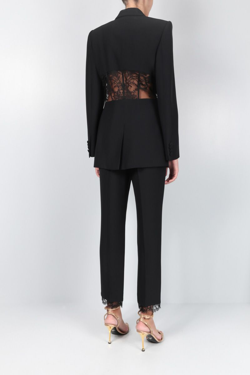 ALEXANDER McQUEEN: crepe single-breasted jacket with lace inserts Color Black_2