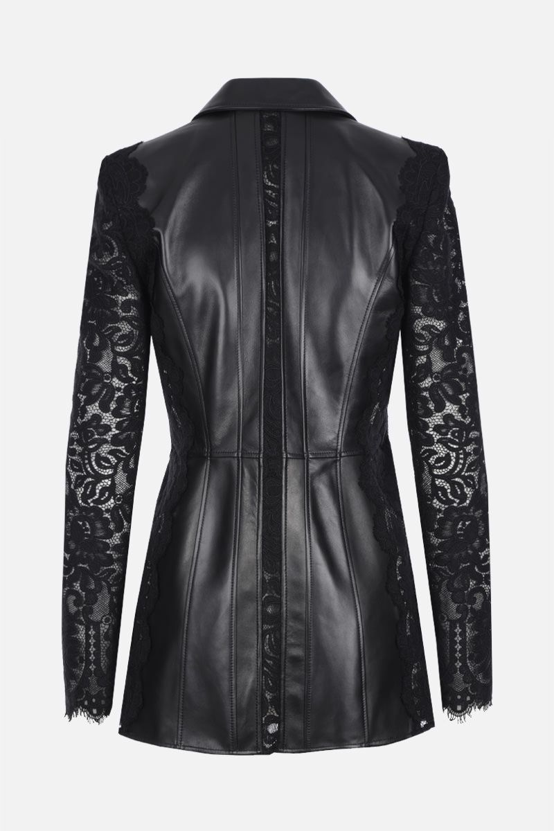 ALEXANDER McQUEEN: soft nappa single-breasted jacket with lace sleeves Color Black_2