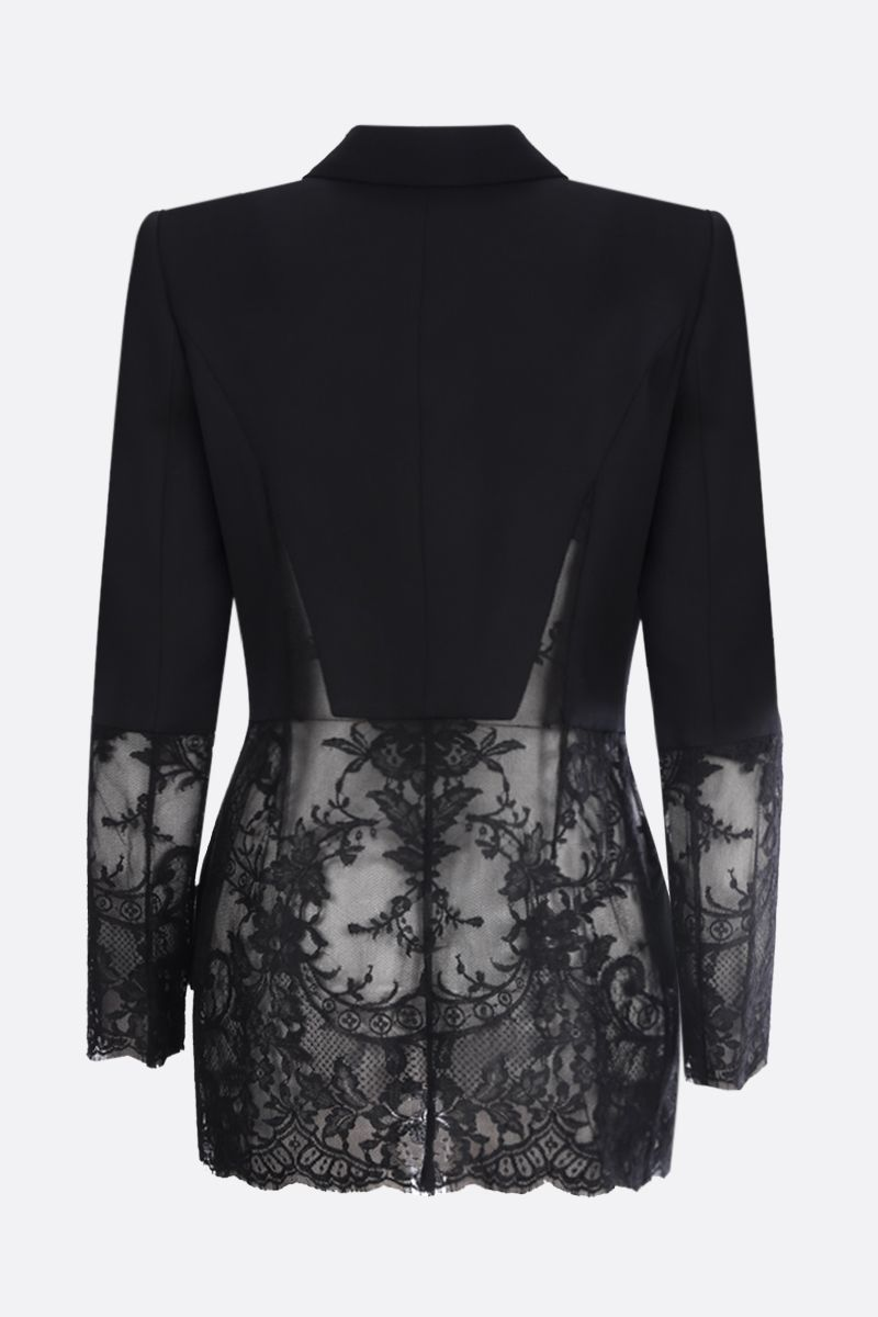 ALEXANDER McQUEEN: lace insert-detailed wool silk blend single-breasted jacket Color Black_2