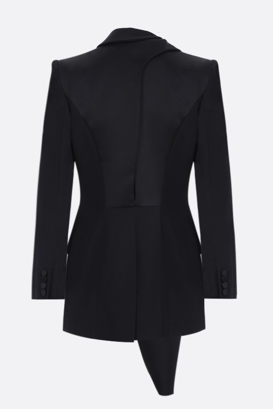 ALEXANDER McQUEEN: single-breasted cady and satin jacket Color Black_2