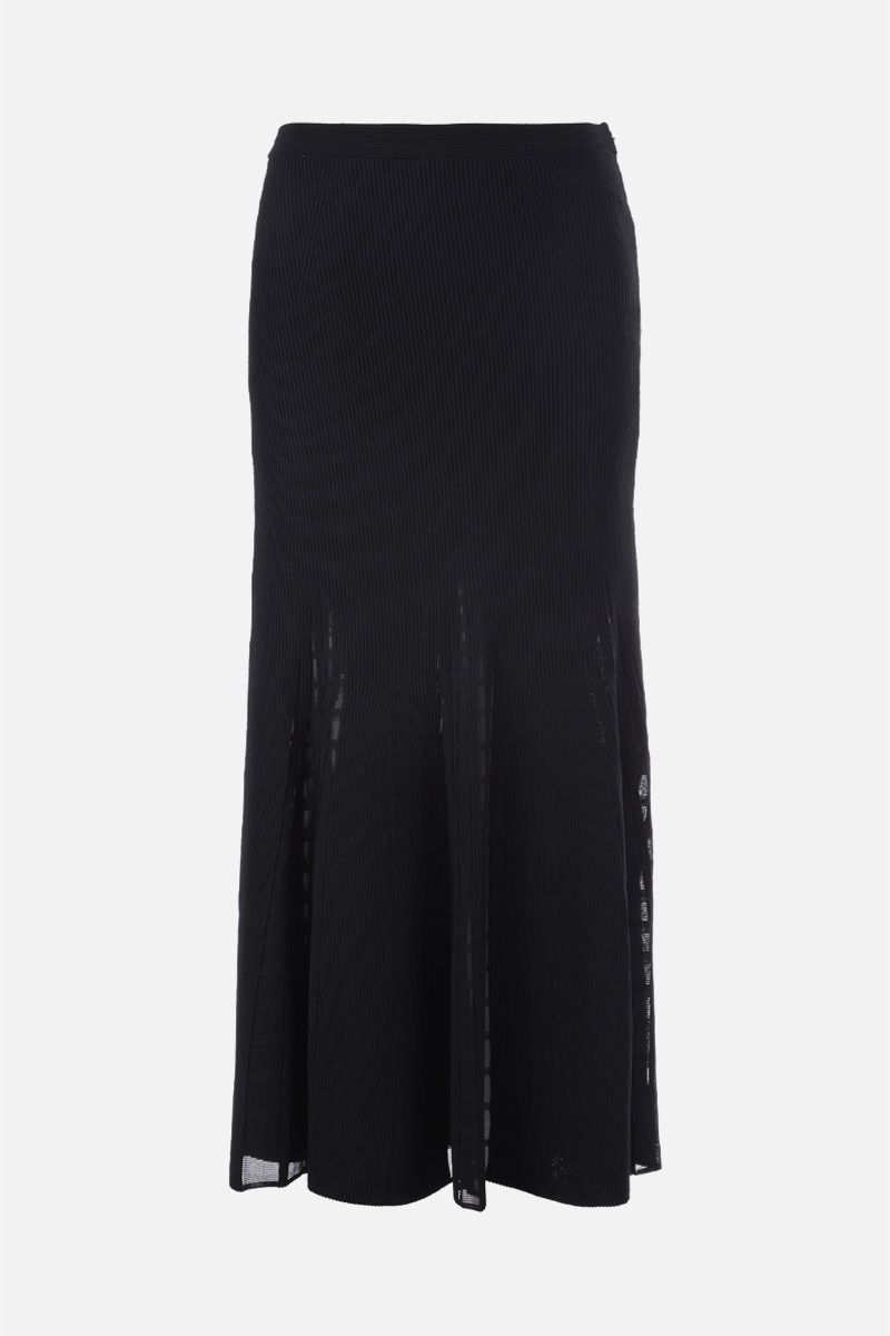 ALEXANDER McQUEEN: Ottoman knit midi skirt Color Black_1