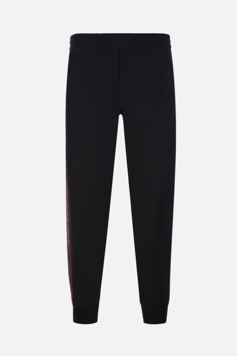 ALEXANDER McQUEEN: crepe joggers with logoed bands Color Black_1