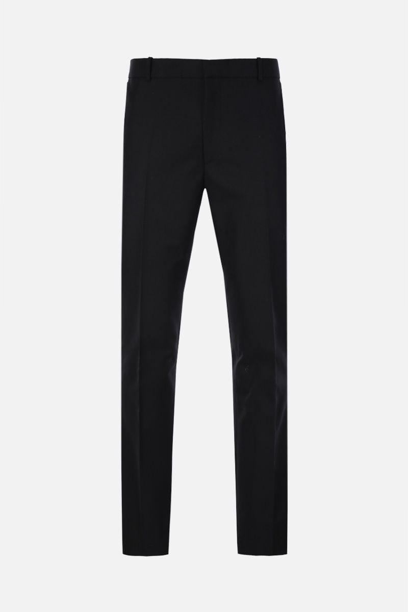 ALEXANDER McQUEEN: McQueen embroidered cotton slim-fit pants Color Black_1