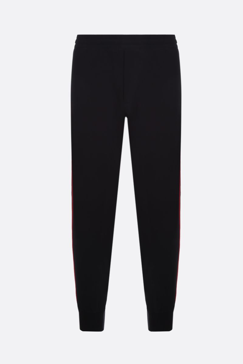 ALEXANDER McQUEEN: logoed band-detailed jersey joggers Color Black_1