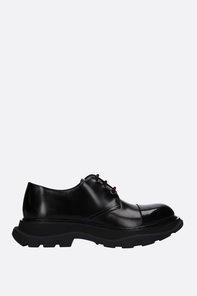 ALEXANDER McQUEEN: smooth leather derby shoes with oversized sole Color Black_1
